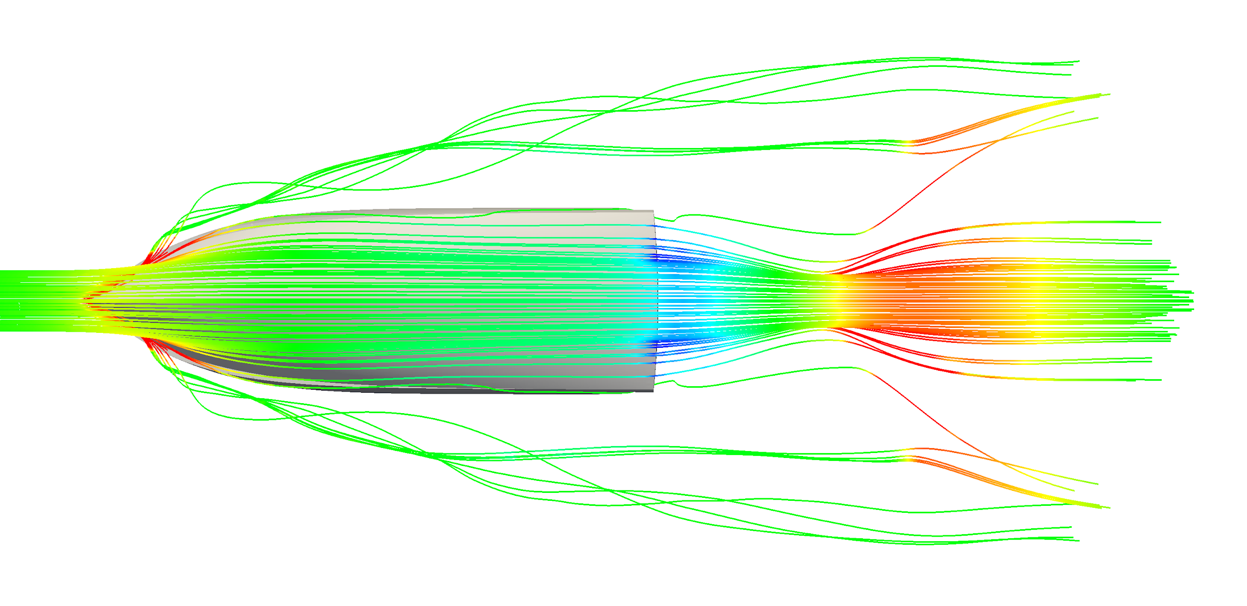 Streamlines from a ship resistance simulation