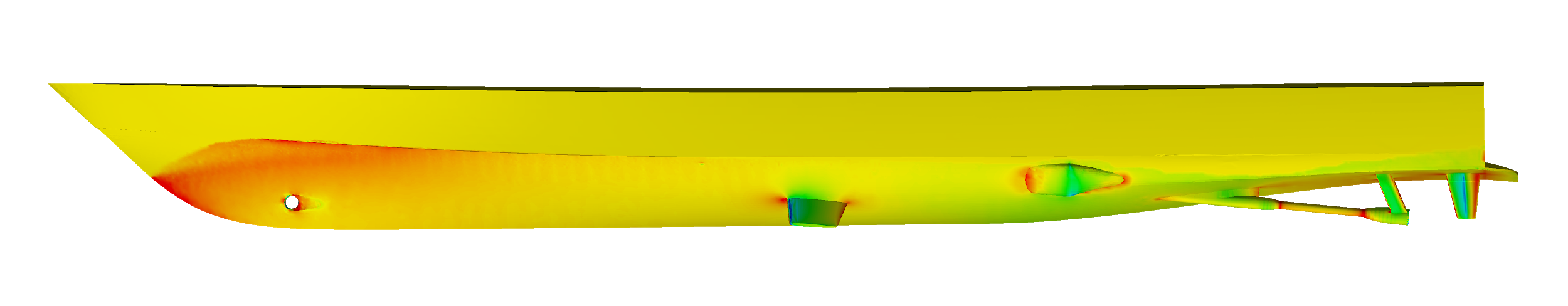 Pressure field distribution on a ship in steady resistance simulation